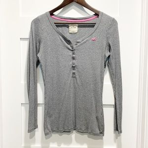 Hollister Gray Henley Thermal Waffle Knit Top